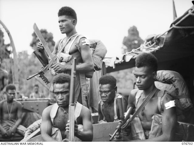 6 November 1944. Soldiers of B Company, 1st New Guinea Infantry Battalion aboard the former Hawkesbury River (New South Wales) vehicle ferry the Francis Peat