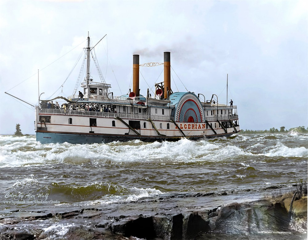 Sidewheeler steamship 'Algerian' running the Lachine rapids in late 1800s. The Lachine Rapids are a series of rapids on the Saint Lawrence River, between the Island of Montreal and the south shore. They are located near the former city of Lachine