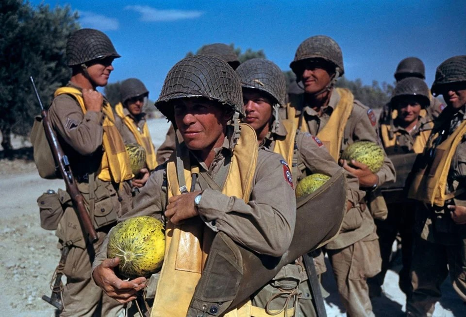 TUNISIA. 1943. These paratroopers from the 504th Parachute Infantry Regiment, U.S. 82nd Airborne Division enjoying some of the locally grown watermelons