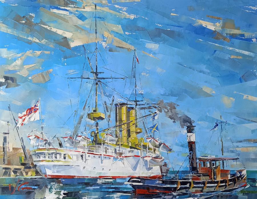 Владимир Глухоманюк - HMS ORLANDO под другим углом с незаменимым помощником порта - буксиром
