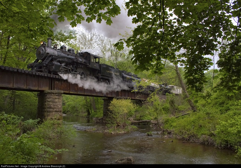 Lancaster & Chester Steam  LC 40 (2-8-0) crosses Mill Creek at Little Italy located between Wycombe and Rushland. Pennsylvania, May 16, 2013