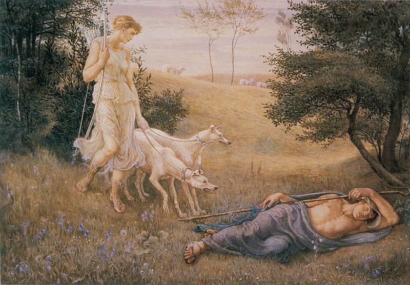 Diana and Endymion - Walter Crane. 1883. Акварель и гуашь