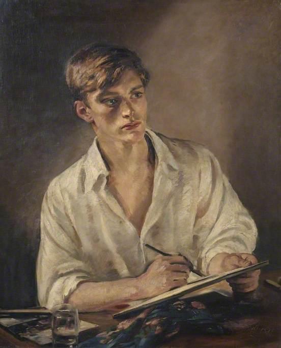 Young Man sketching. 1920- s. William Bruce Ellis Ranken (1881-1941)