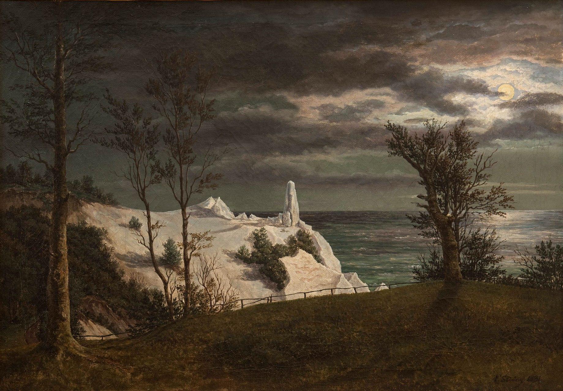 """Сёдринг, Фредерик (1809-62) - """"Летний шпиль"""" на меловых скалах острова Мён в лунном свете 1831. Копенгаген, Датская национальная галерея"""