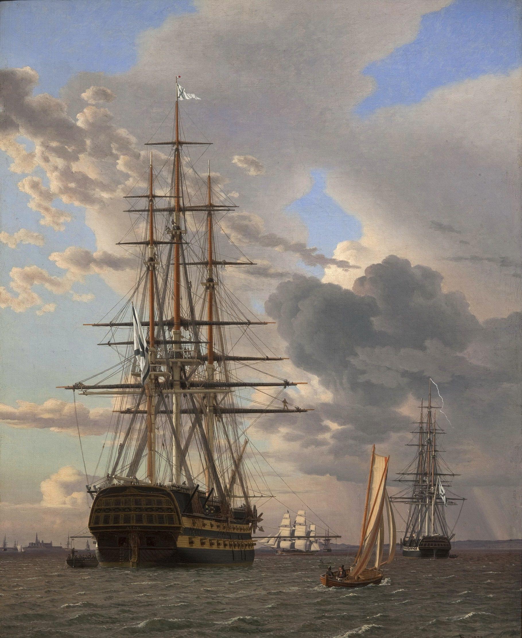 Эккерсберг, Кристоффер Вильхельм (1783-1853) - Русский линейный корабль Азов и фрегат на якоре на пути в Хельсингёр. 1828. Копенгаген, Датская национальная галерея