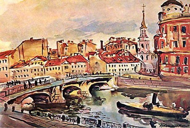 Петр Кончаловский. Ленинград. Мост Белинского. Церковь Симеона и Анны. 1931.