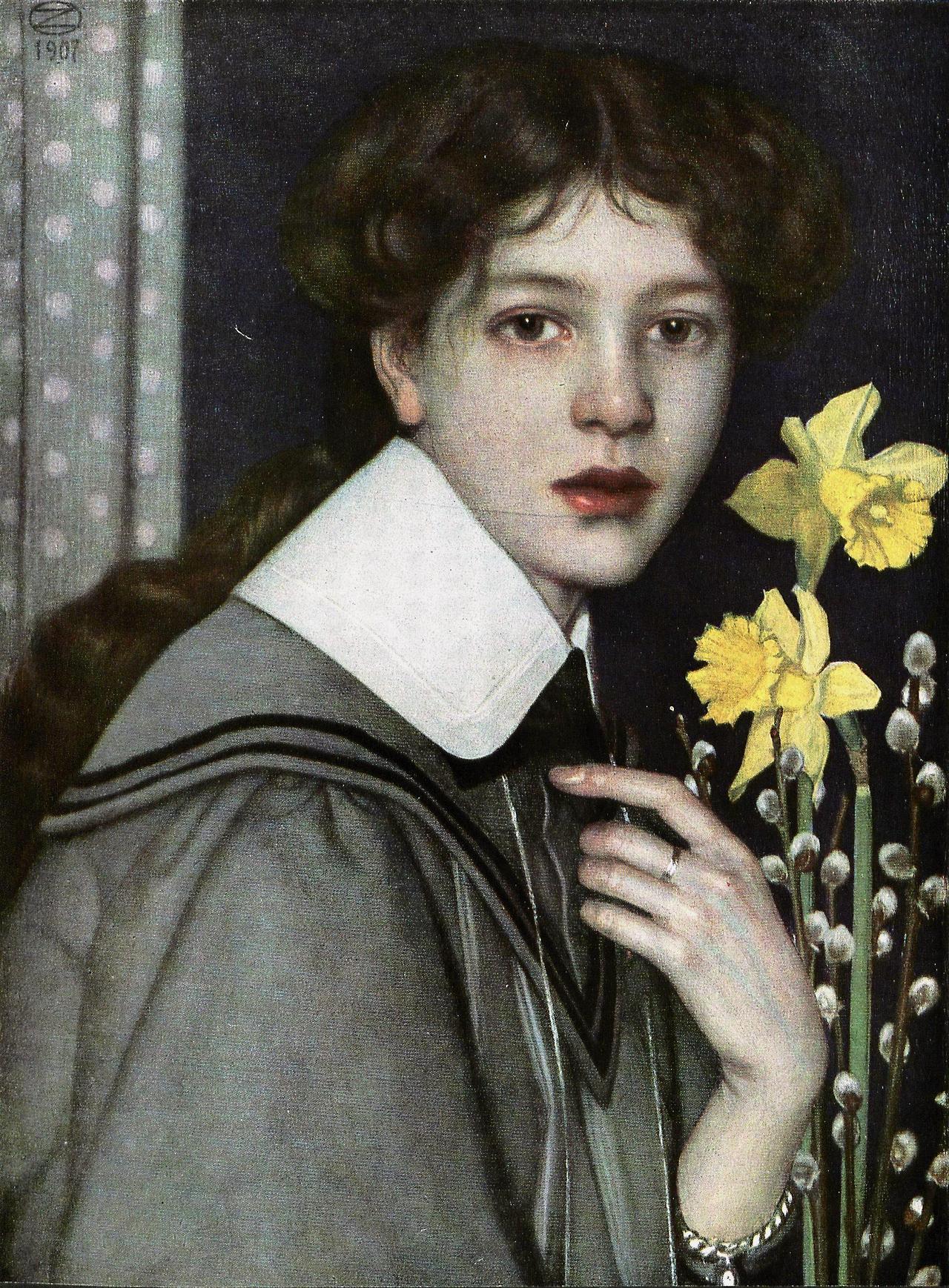 Портрет с желтыми нарциссами (Bildnis mit gelben Narzissen), 1907