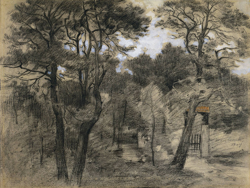 Lovis Corinth. Landscape. charcoal with orange pastel and white gouache. Cleveland Museum of Art