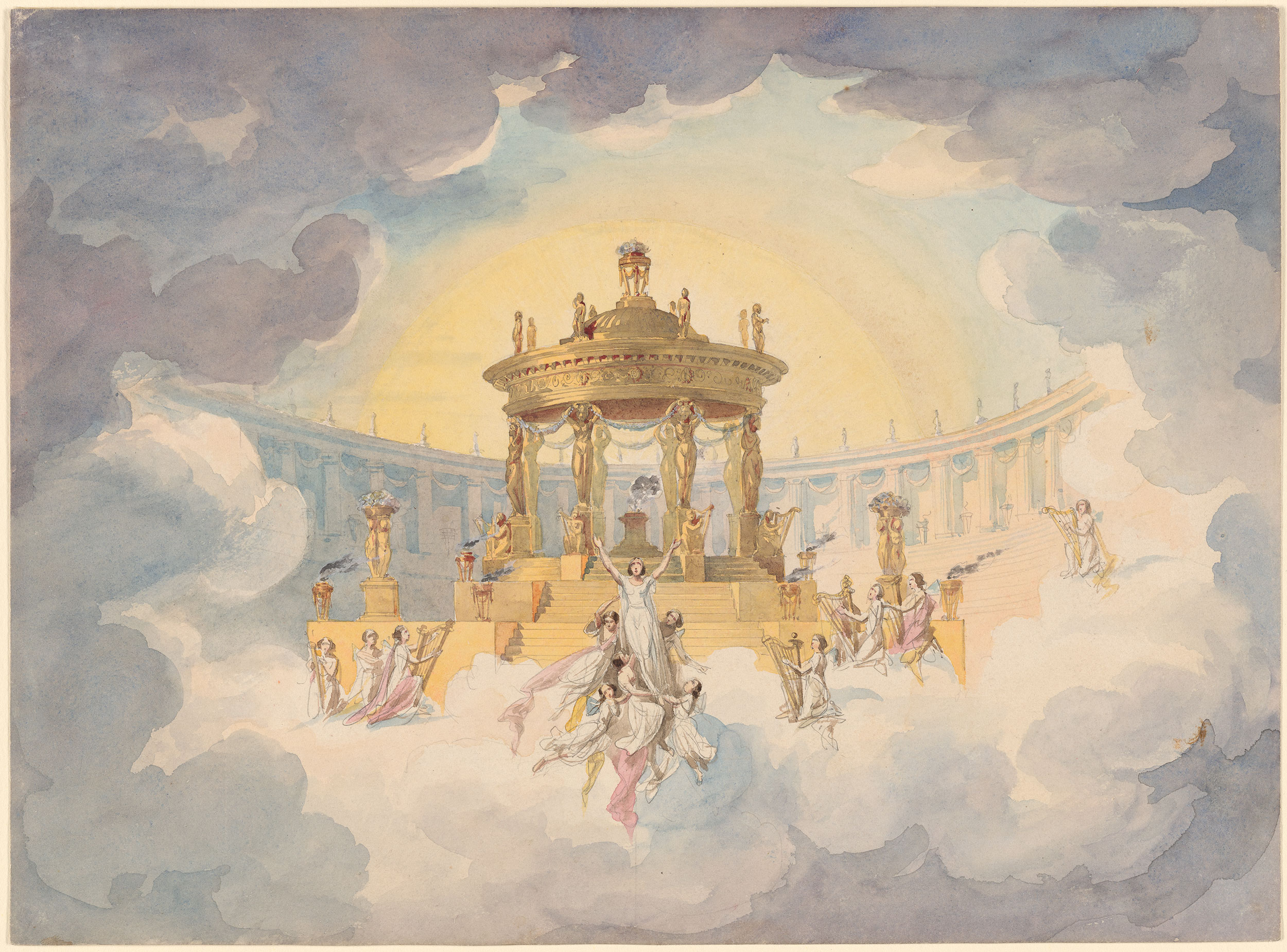 """Andreas Leonhard Roller (1805-1880) Apotheosis Scene from """"Faust""""ca. 1870. Pencil and watercolor on paper."""