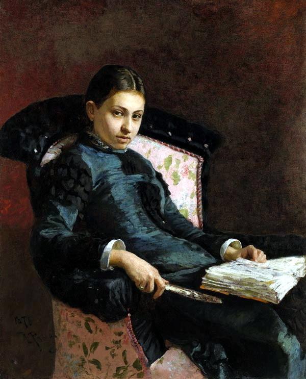 Илья Ефимович Репин (1844-1930). Портрет Веры Репиной, жены художника. 1878г. Частная коллекция. (©Sothebys)