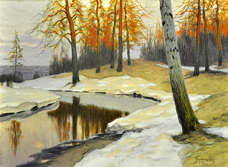 """""""Snow by a Forest Stream"""". Mikhail Germashev (1900s) /  Михаил Гермашев (1900-е)"""