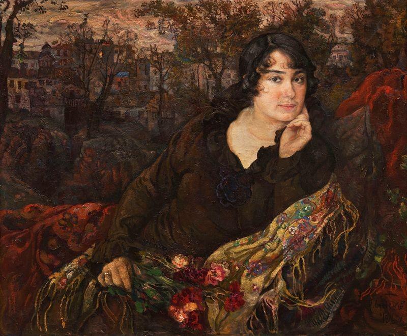 Женский портрет. Портрет Л.М. Бродской, 1916 год. Бродский Исаак. Частная коллекция
