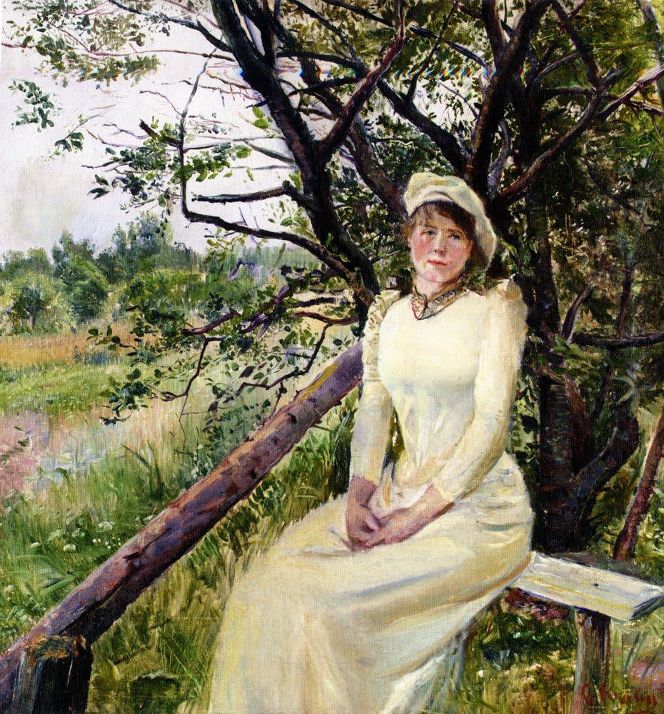 Young Woman on a Bench. Christian Krohg / Молодая женщина на скамейке. Кристиан Крог