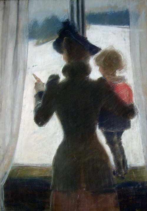 Oda and Per at the Window. 1892. Pastell på papir. Christian Krohg