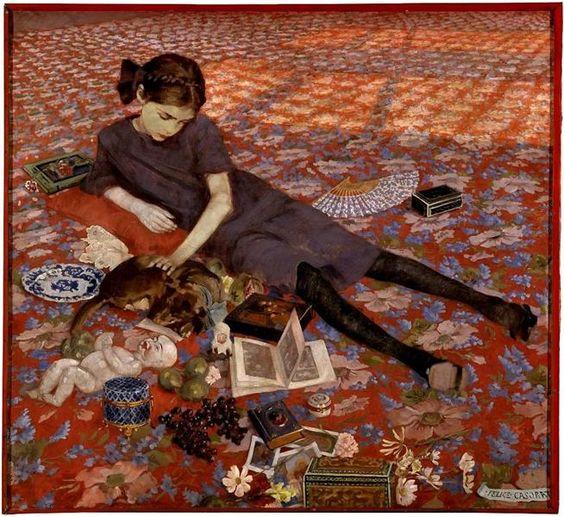 Girl on a red carpet, 1912 - Феличе Казорати