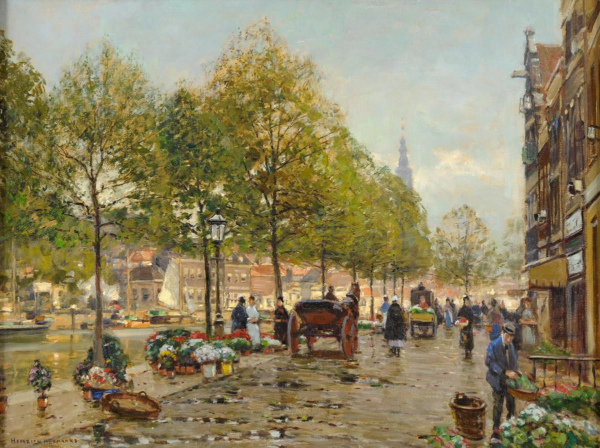 Hermanns, Heinrich 1862 Düsseldorf - 1942 Düsseldorf Blumenmarkt in Leiden. Signiert. Rückseite betitelt.jpg