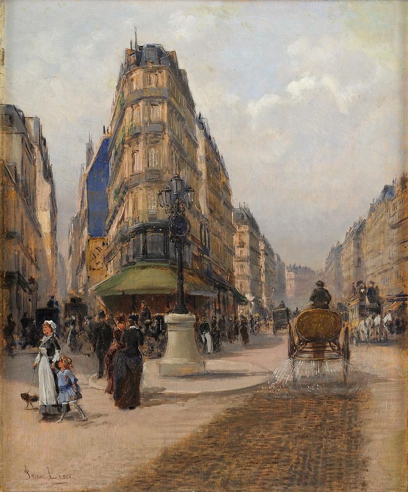 Undeutlich signiert 19. Jhdt. Pariser Straßenszene.jpg