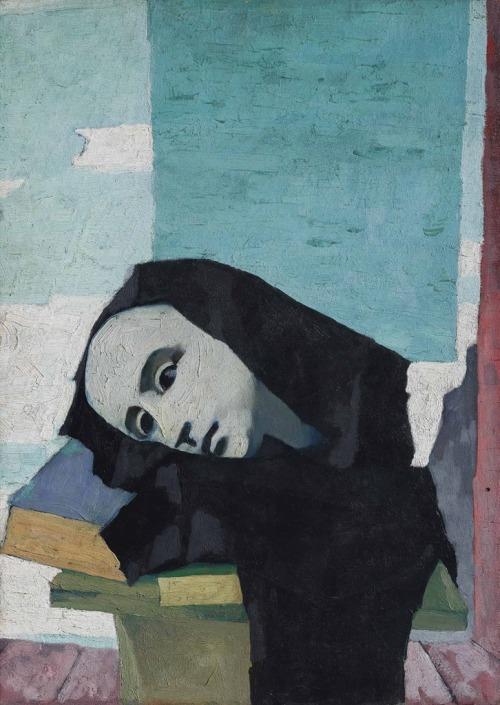 Felice Casorati. Natura morta con testa di gesso e libri