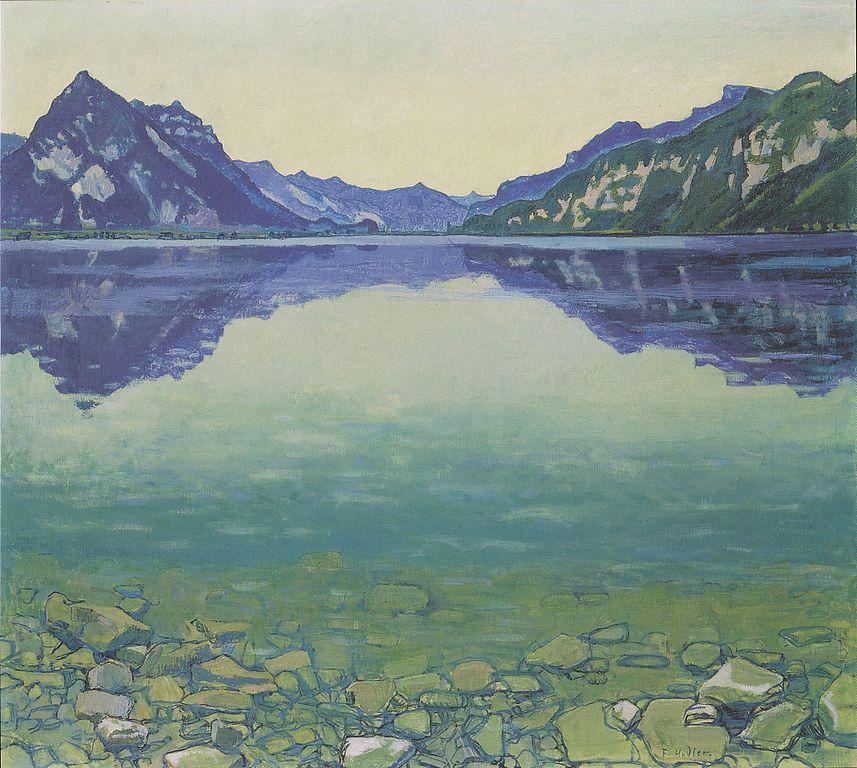 Ferdinand Hodler - Thunersee mit symmetrischer Spiegelung vor Sonnenaufgang - 1904