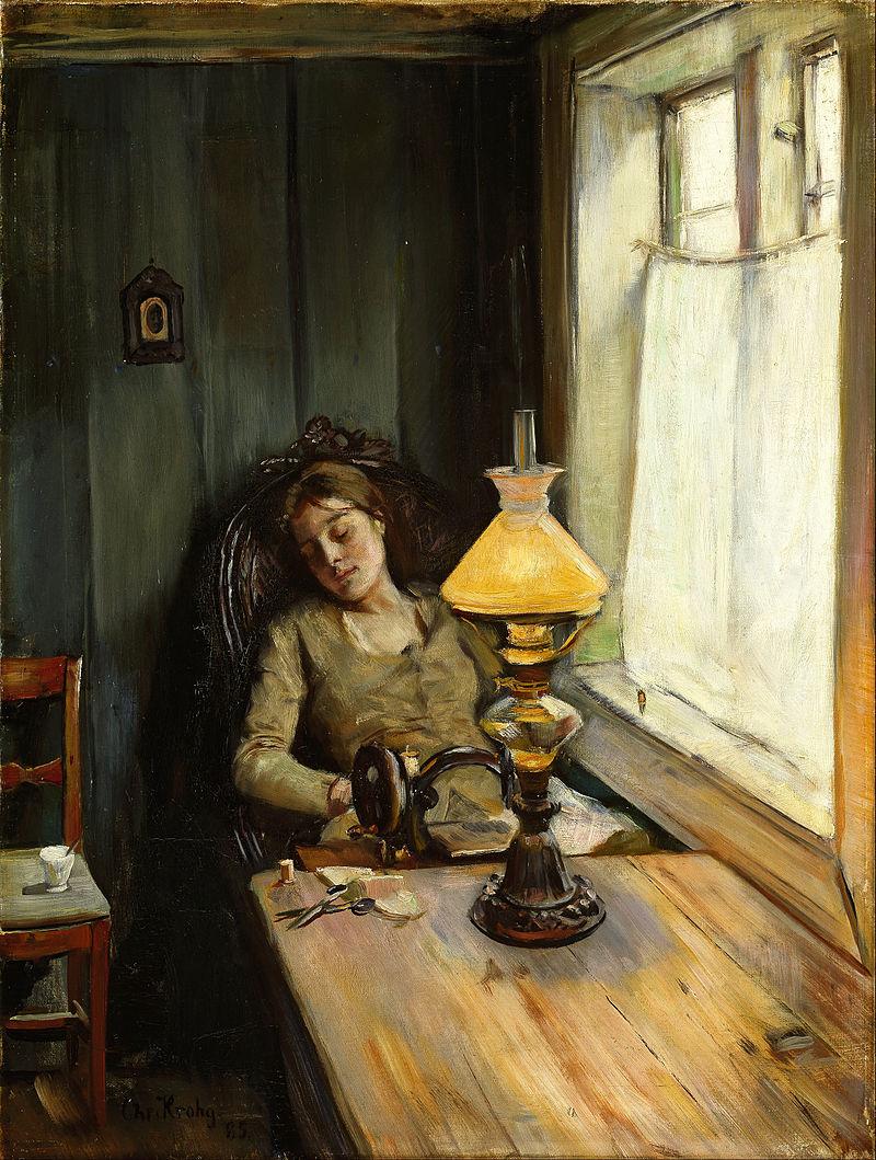 Tired. 1885. Christian Krohg.  / Уставшая. 1885. Кристиан Крог