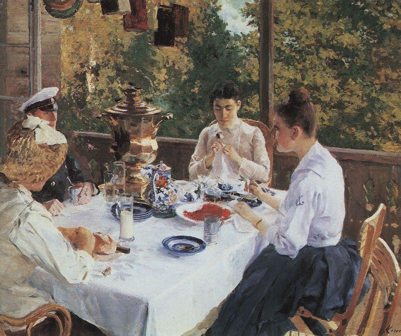 За чайным столом. Константин Алексеевич Коровин. 1888