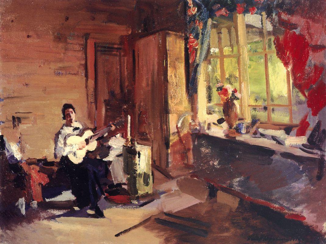 Девушка с гитарой.Константин Алексеевич Коровин. 1916