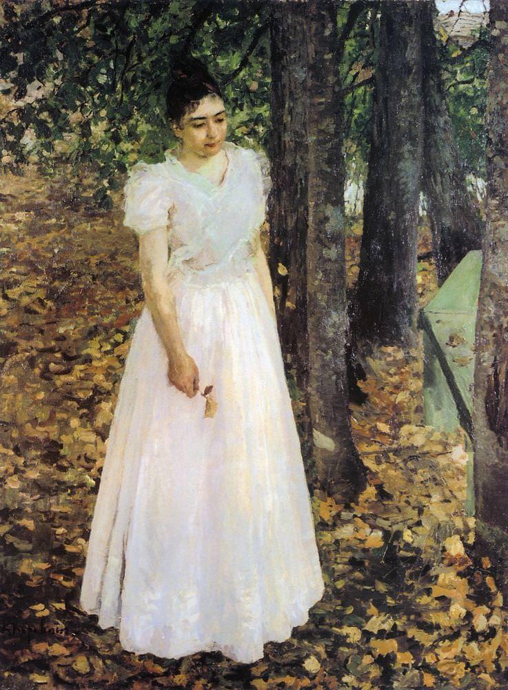 Коровин Константин Алексеевич – Осенью (Девушка в саду). 1891