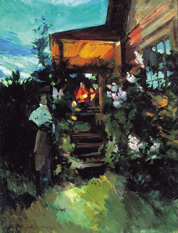 Коровин Константин Алексеевич – Летним вечером у крыльца. 1922
