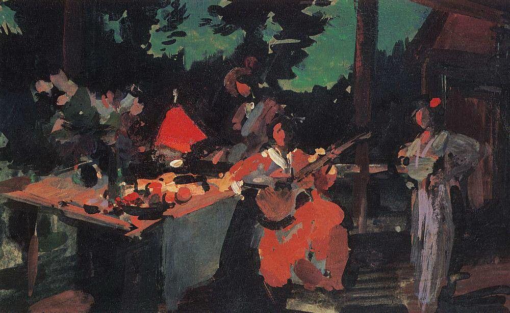 Коровин Константин Алексеевич – Терраса. Вечер на даче. 1901