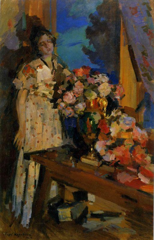 У окна.Константин Алексеевич Коровин. 1917