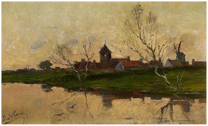 Vue de village et église près de l´eau (1892)