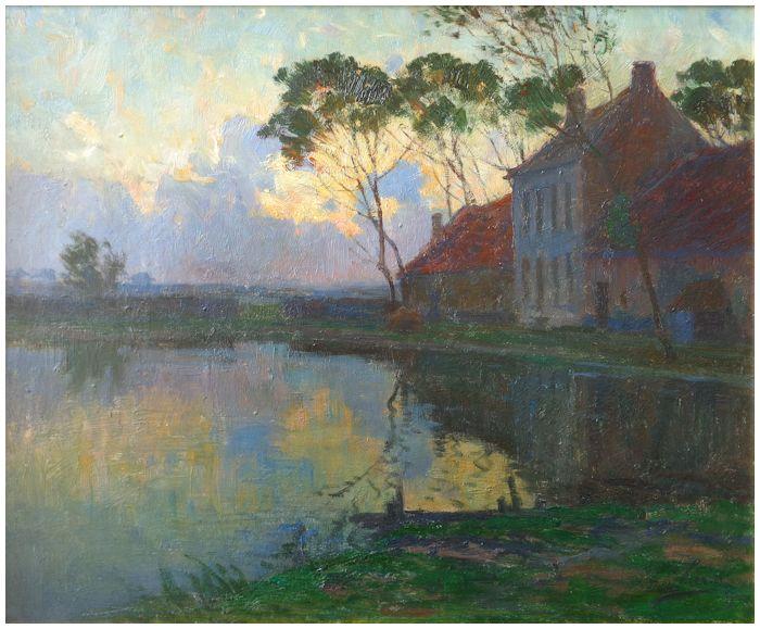 Coucher de soleil sur la mare de la ferme (1902)