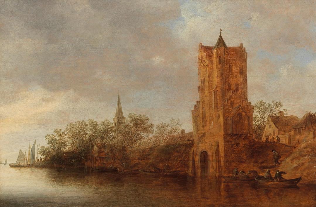 Jan Van Goyen, A River Landscape with Utrecht's Pelekussenpoort / Речной пейзаж с утрехтским Пелекуссенпортом
