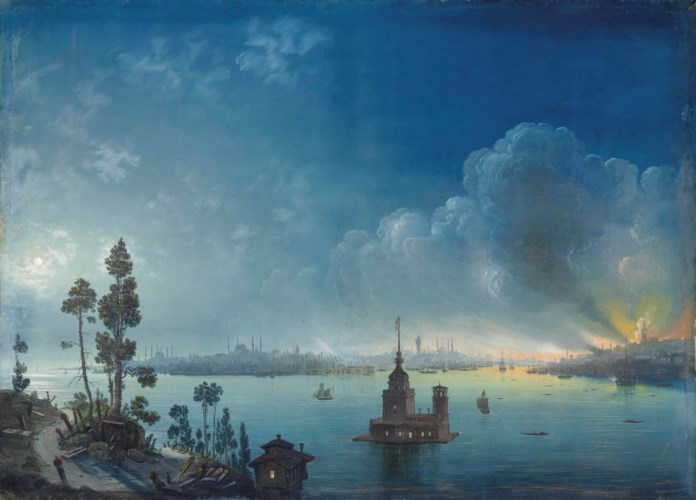 Carlo Bossoli. Constantinople - a view across the Bosphorus towards Leander's Tower by night
