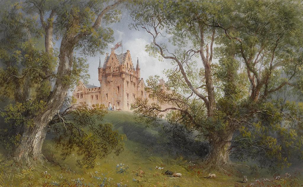 Carlo Bossoli. A view of Brodick Castle, Isle of Arran, Scotland. gouache on paper