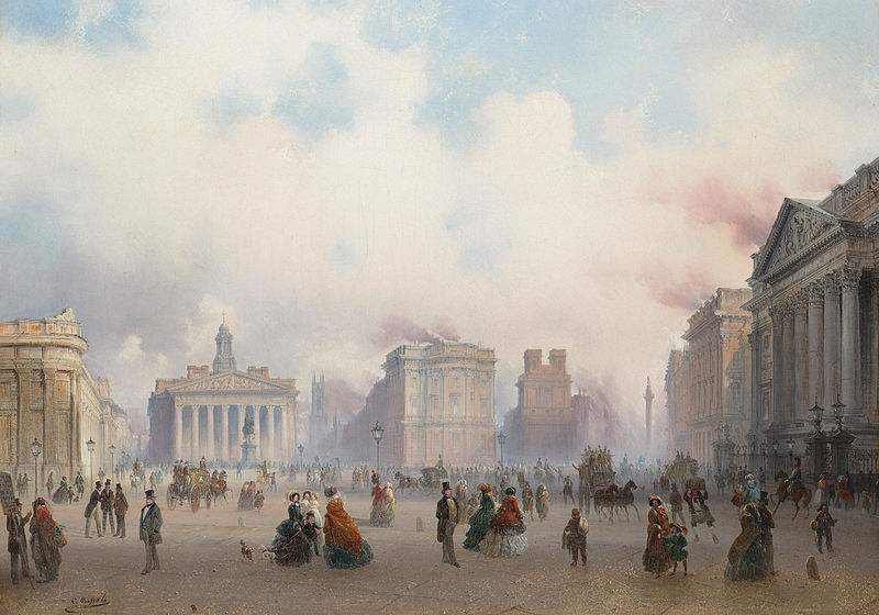 Carlo Bossoli. A view of the City of London from BankMedium. oil on canvas