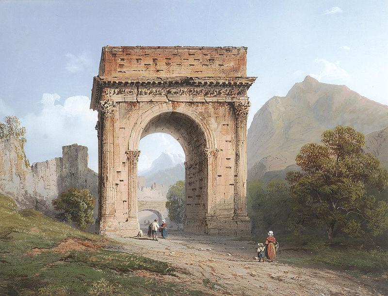 Carlo Bossoli - L'Arco di Augusto a Susa, Italia