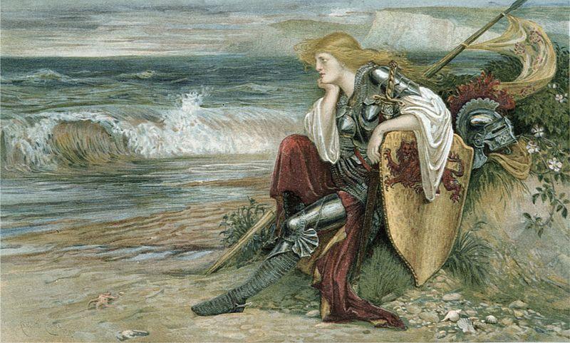 Walter Crane - Britomart (heroine of Book III of Spenser's 'Faerie Queene'). 1900.  Акварель, бумага.
