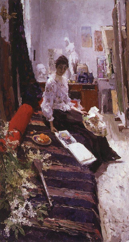 В мастерской художника. Константин Алексеевич Коровин. 1892