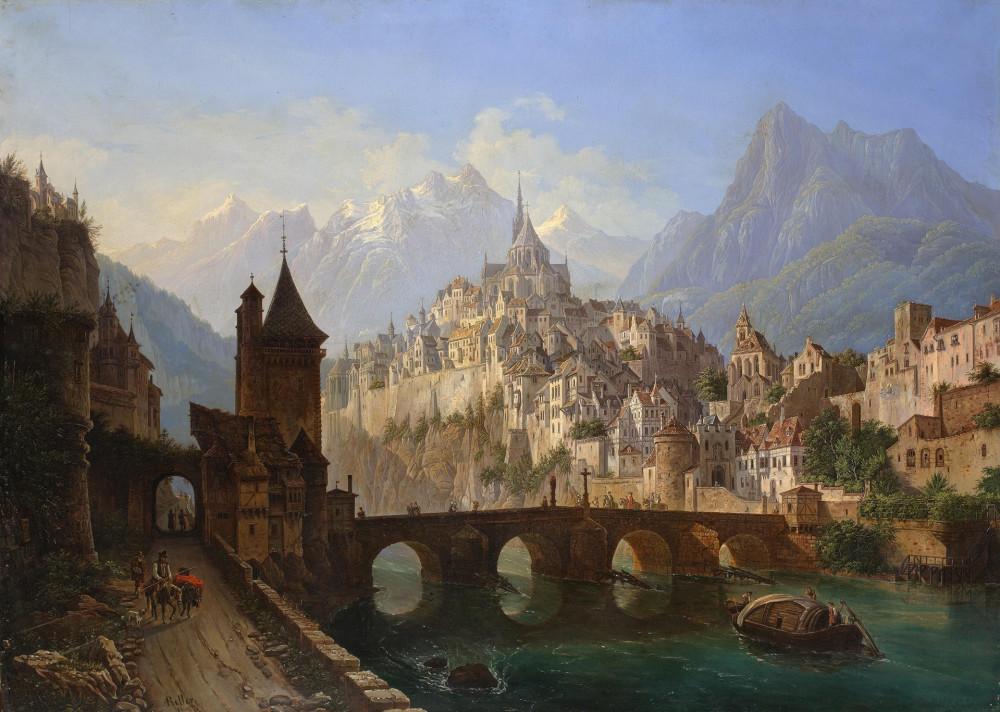 Роллер, Андрей Адамович (1805-1880) Пейзаж с замком. 1843 г. Холст, масло. Государственный Эрмитаж.