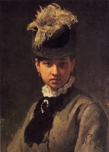 """Репин И.Е. """"Портрет В.А. Репиной, жены художника"""". 1876. Государственный Русский музей."""