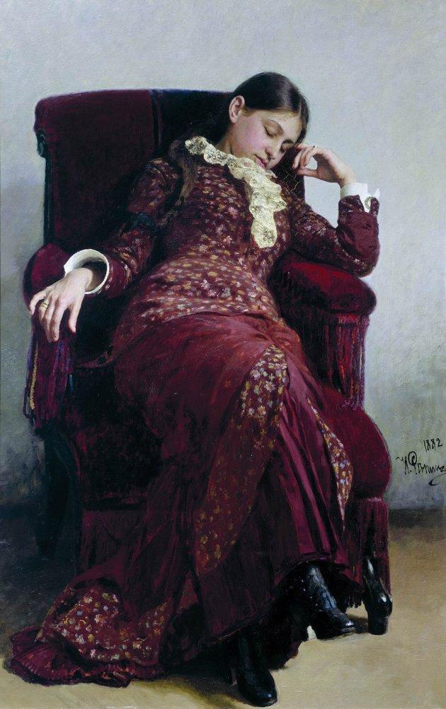 Отдых. Портрет В.А. Репиной, жены художника. 1882. 143 х 94 холст, масло