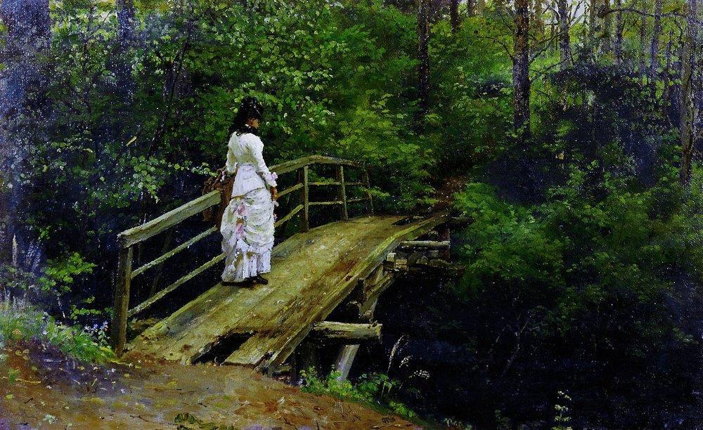 Илья Репин. Летний пейзаж (Вера Алексеевна Репина на мостике в Абрамцеве ). 1879