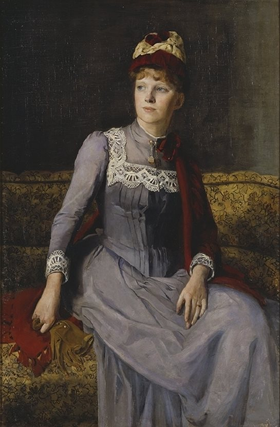 Mina Carlson (née Bredberg) (Swedish painter) 1857 - 1943. Mrs Anna Flensburg, 1887. oil on canvas. 130 x 87 cm. National Museum, Stockholm, Sweden