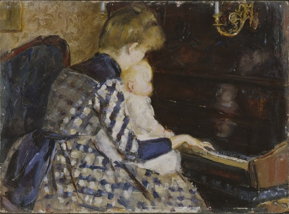 Mina Carlson (née Bredberg) (Swedish painter) 1857 - 1943. At the Piano, 1890. oil on wood 24 x 32 cm. National Museum, Stoclholm, Sweden
