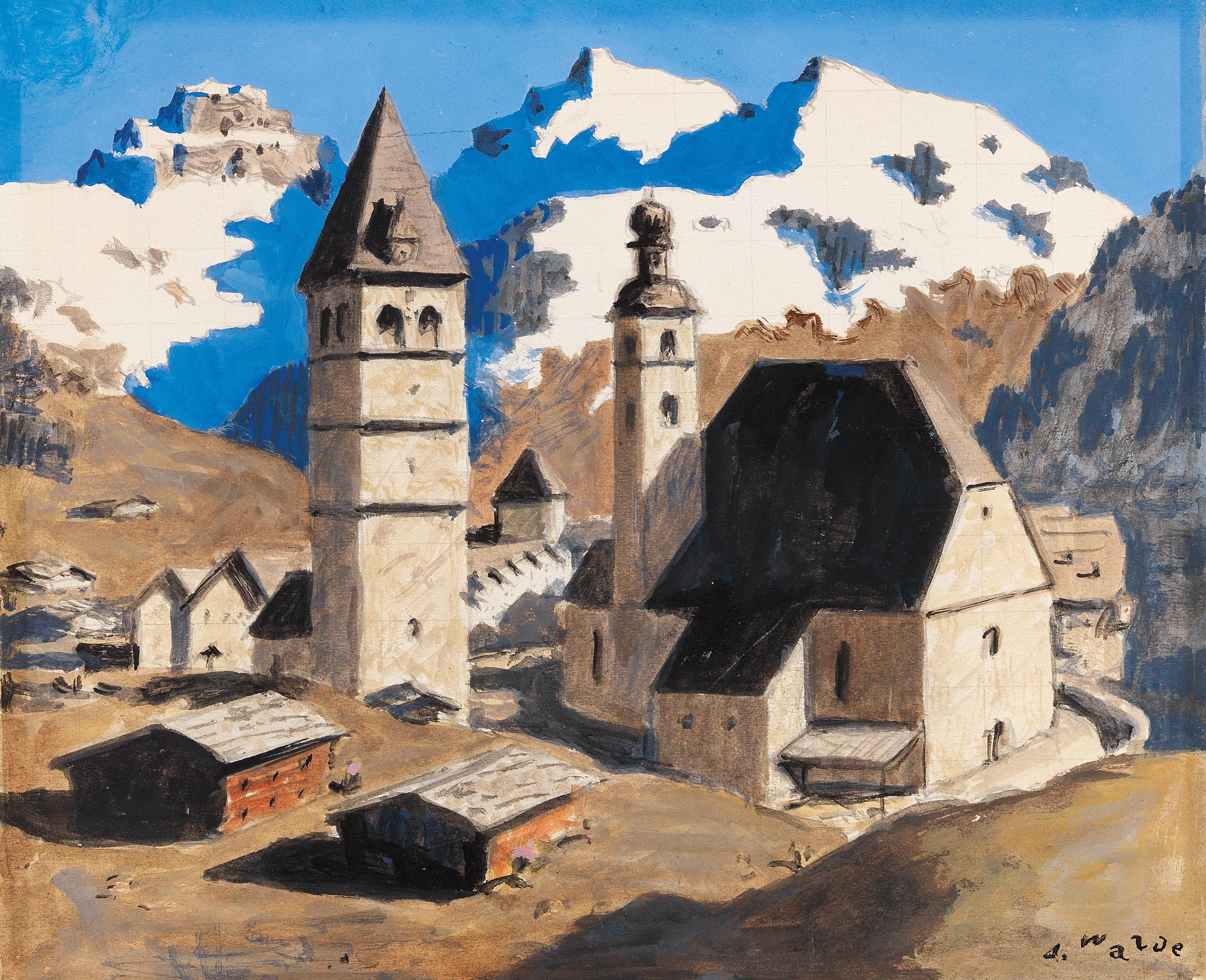 Alfons Walde (Oberndorf 1891–1958 Kitzbühel) Kitzbühel in spring, signed A. Walde, tempera, gouache, pencil on paper