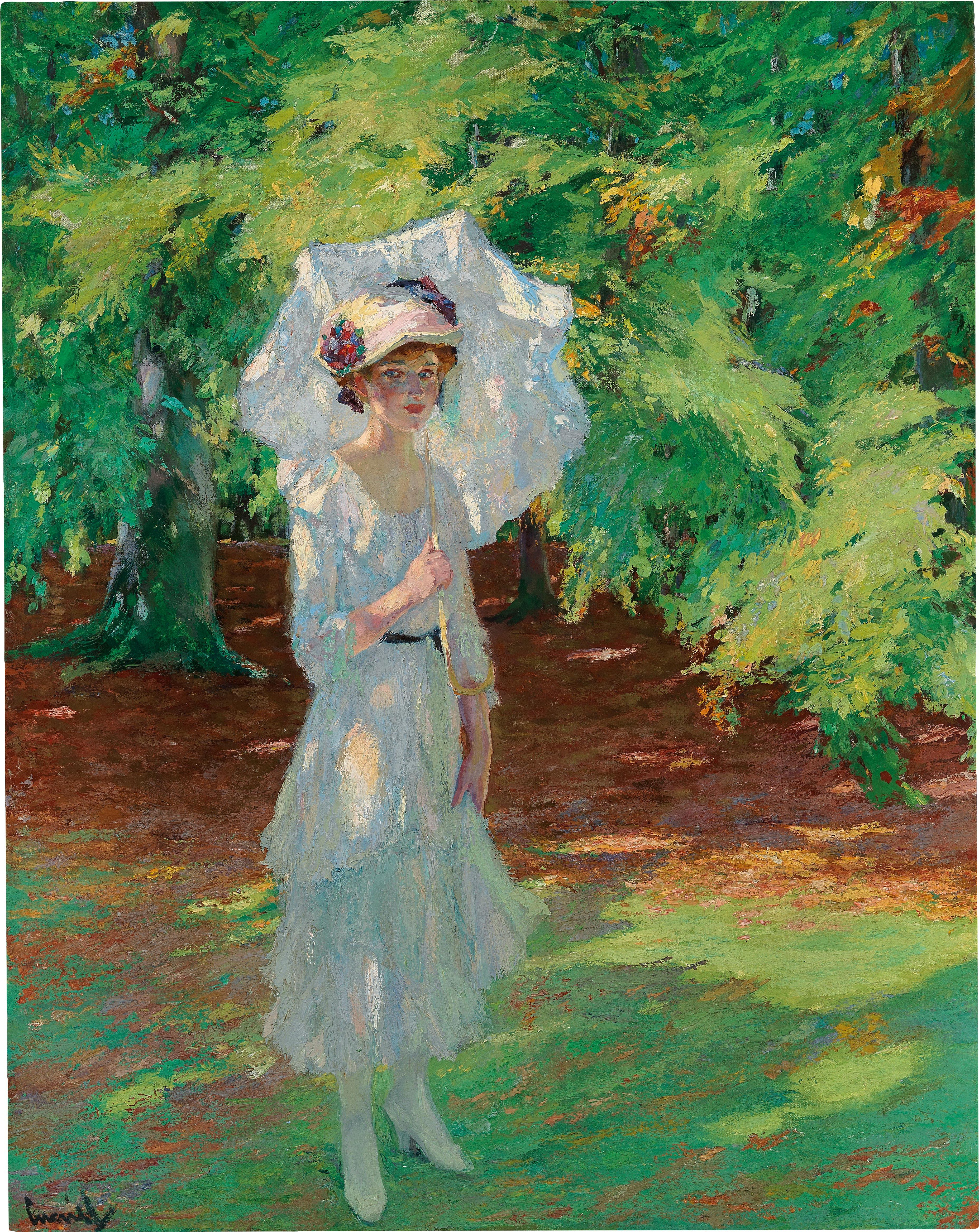 Edward Cucuel (San Francisco 1875–1951 Pasadena). Waldlichtung (forest glade), oil on canvas