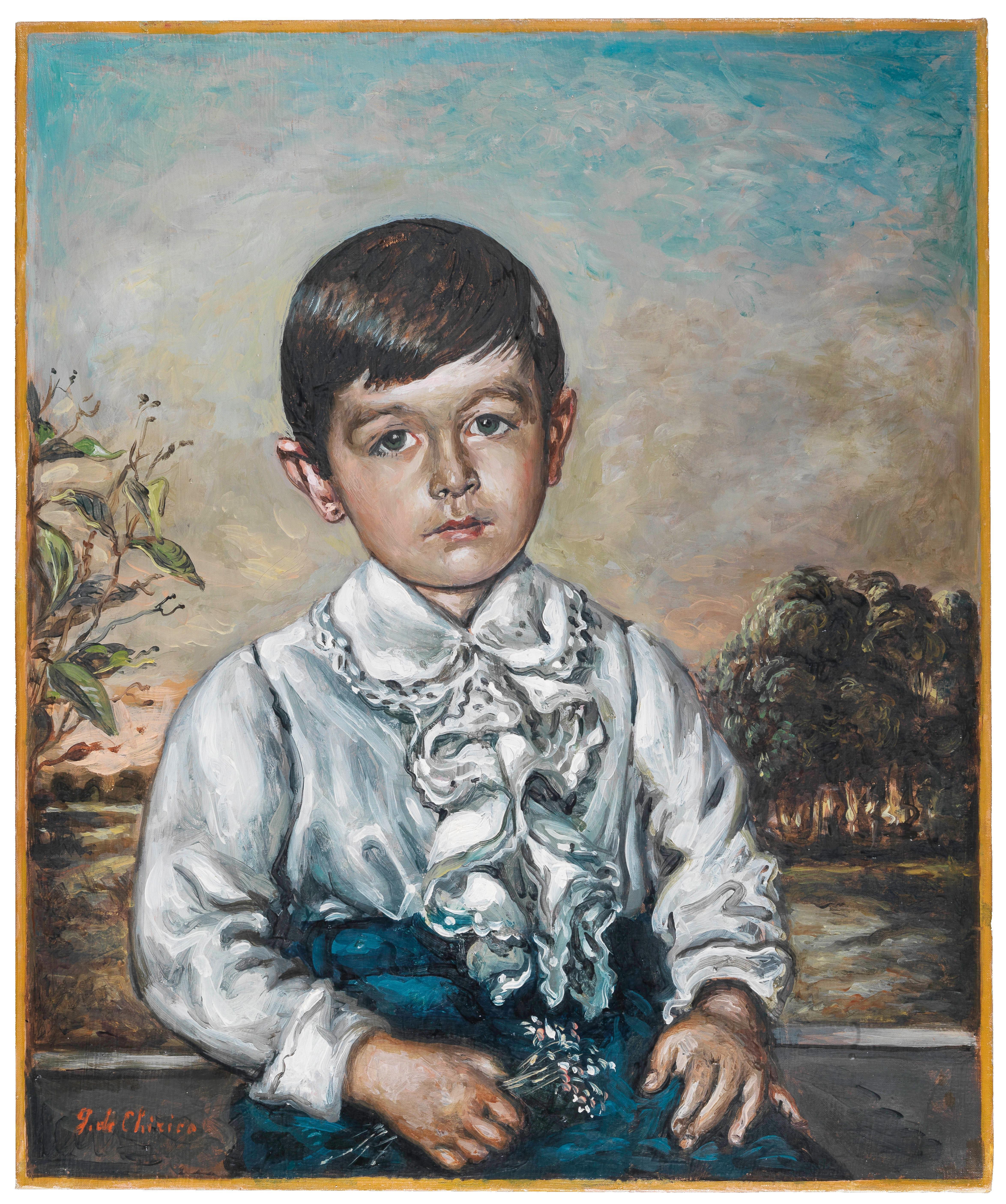 Giorgio de Chirico (Volos, Greece 1888–1978 Rome) Ritratto di fanciullo, 1955, oil on canvas, 60 x 50 cm