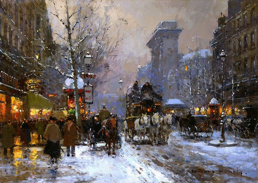 edouard_leon_cortes_b1038_porte_st_denis_in_the_winter