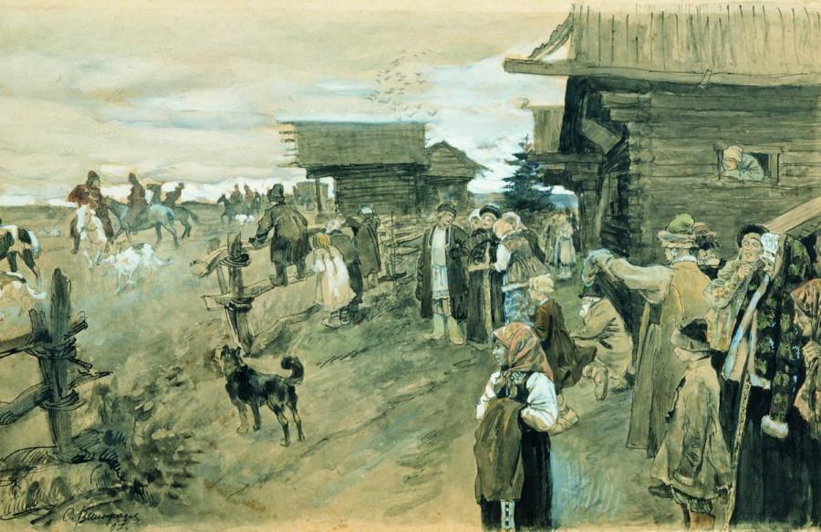 Охота с борзыми. 1907